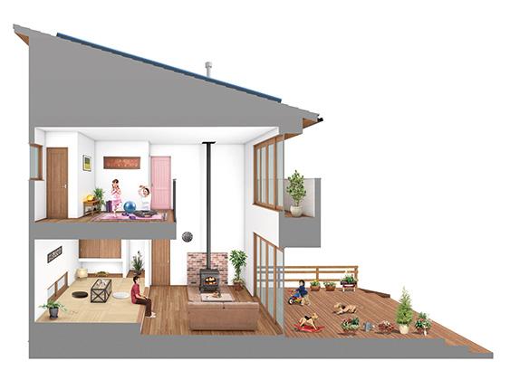 「極暖の家」断面図のイメージ