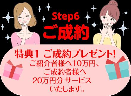 特典1 ご成約プレゼント!ご紹介者様へ10万円、ご成約者様へ20万円分の商品サービスをプレゼントいたします。